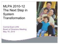 MLPA 2010-12 The Next Step in System Transformation