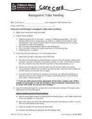 Nasogastric Tube Feeding - Children's Mercy Hospitals and Clinics