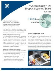 NCR RealScan™ 76 Bi-optic Scanner/Scale to a new level - OSCS