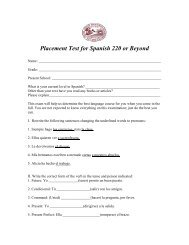 Placement Test for Spanish 220 or Beyond