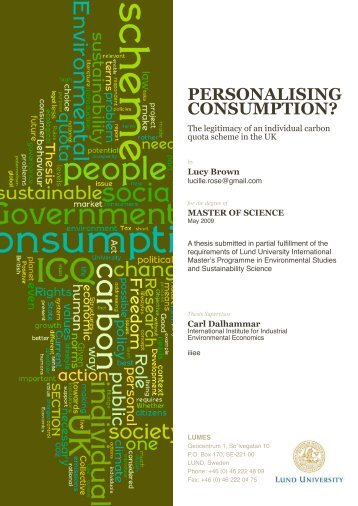 PERSONALISING CONSUMPTION? The legitimacy of an ... - lumes