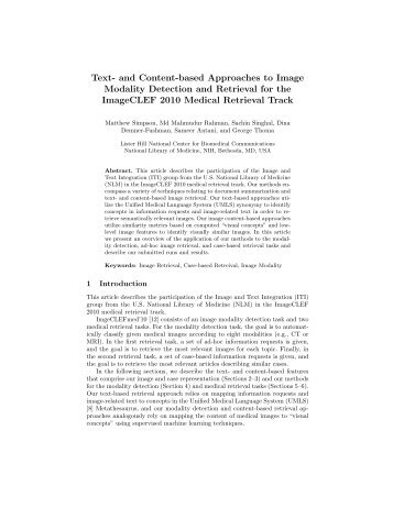Text- and Content-based Approaches to Image Modality Detection ...