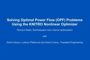 Solving Optimal Power Flow (OPF) Problems Using the KNITRO ...
