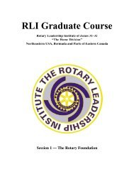 RLI Graduate Course Session 1 - Rotary Leadership Institute