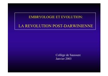 LA REVOLUTION POST-DARWINIENNE - Frontiers in Genetics