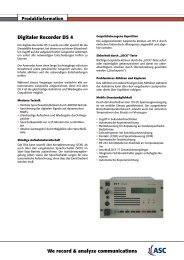 Digitaler Recorder DS 4 We record & analyze ... - ASC telecom