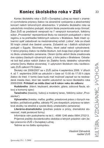 kultúra, vzdelávanie, výchova - Obec Dunajská Lužná