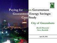 Guaranteed Energy Savings - NC Project Green