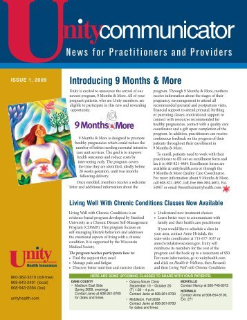 Issue 1, 2009 - Unity Health Insurance
