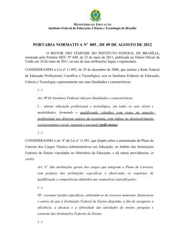 Portaria Normativa 5/2012 - IFB