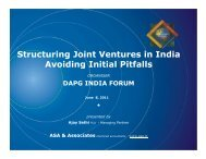 Structuring Joint Ventures in India Avoiding Initial Pitfalls - Ajay Sethi ...