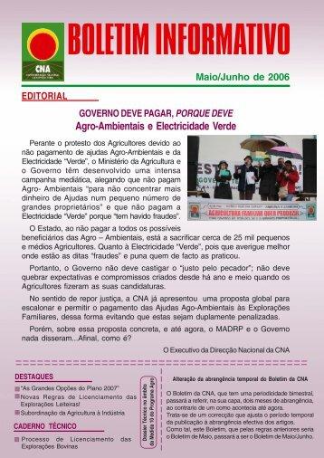 Boletim Informativo Maio/Junho de 2006 - CNA