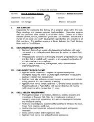 parks and recreation director job description - City of Mission