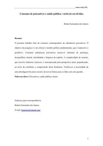 Consumo de psicoativos e saúde pública: variáveis envolvidas - Neip