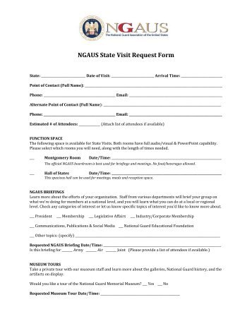 NGAUS State Visit Request Form - National Guard Association of ...