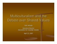 Multiculturalism and the Debate over Shared Values