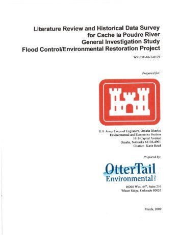 Literature Review and Historical Data Survey for ... - City of Greeley