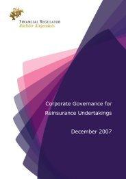 Corporate Governance for Reinsurance Undertakings December 2007
