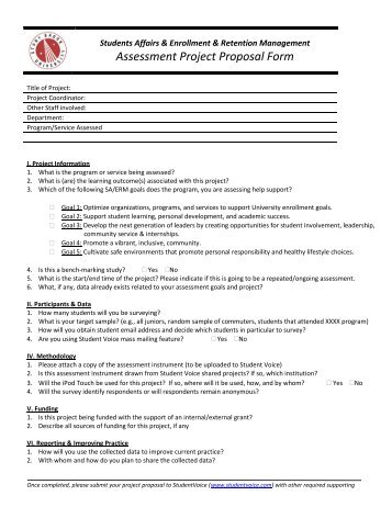 Assessment And Research Project Request Form - Sdsu Student