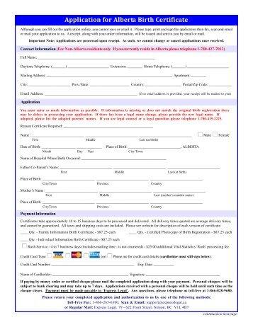 Birth Certificate Request Form - VitalCertificates.ca