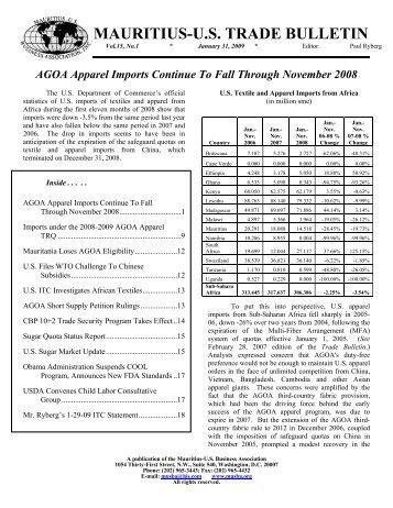 January Trade Bulletin - Mauritius. US Business Association, Inc.