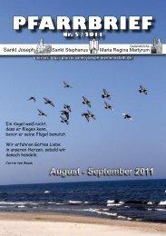 August - September 2011 PFARRBRIEF - St. Joseph, Siemensstadt