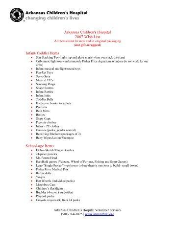 Arkansas Children's Hospital 2007 Wish List Infant ... - Argwrra.org