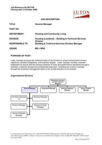 general manager job description pdf
