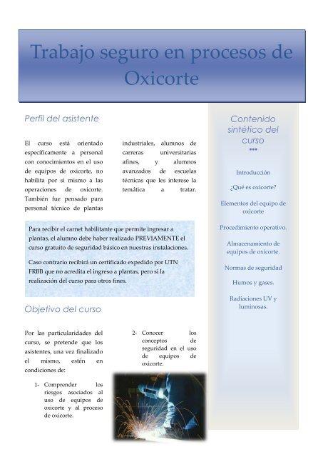 Trabajo seguro en procesos de Oxicorte - UTN FRBB
