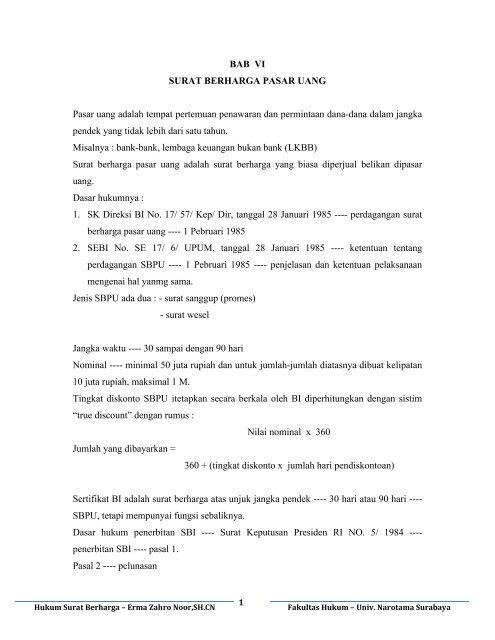 Modul Hukum Surat Berharga 6 Surat Berharga Pasar Uang