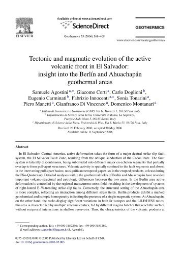 Tectonic and magmatic evolution of the active volcanic front in El ...