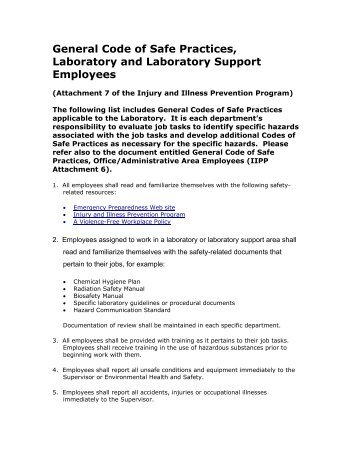 EXHIBIT 4: General Code of Safe Practices, Laboratory and ... - SDSU