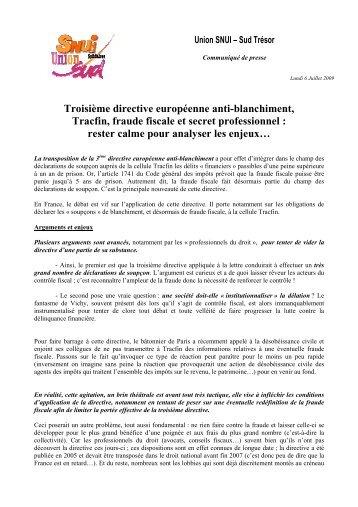 Troisième directive européenne anti-blanchiment, Tracfin, fraude ...