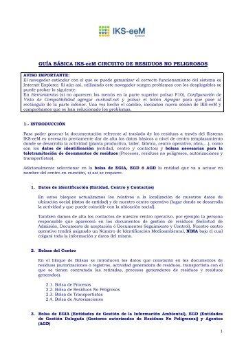 Guía básica para Productores de Residuos No ... - EPER-Euskadi