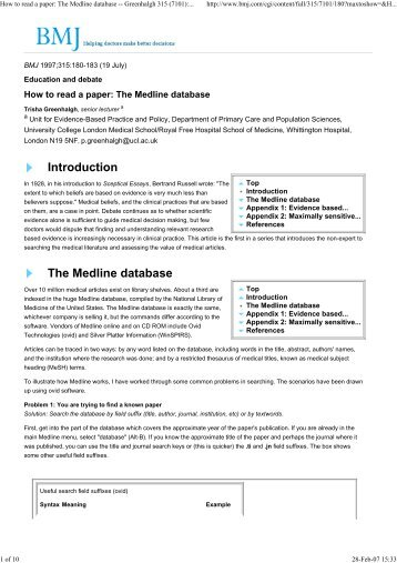 How to read a paper: The Medline database ... - HealthNet