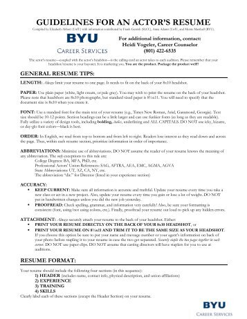 guidelines for an actor's resume - University Career Services