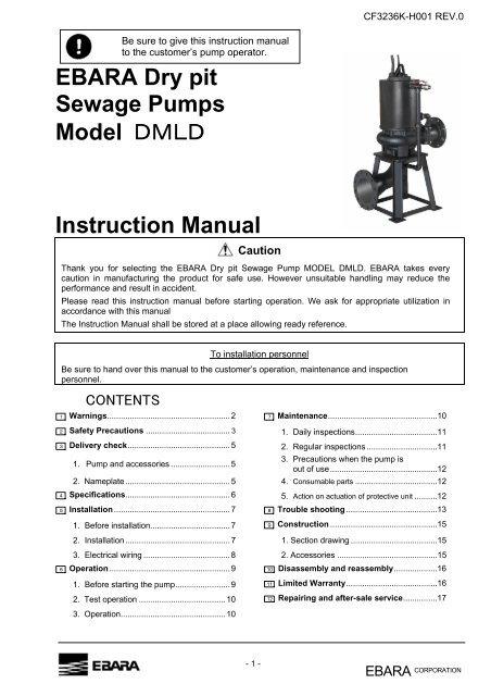 Peachy Ebara Dry Pit Sewage Pumps Model Iiii Instruction Manual Wiring Digital Resources Pelapshebarightsorg
