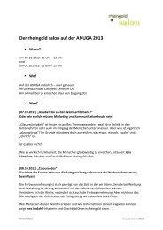 Der rheingold salon auf der ANUGA 2013