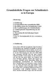Grundsätzliche Fragen zur Schuldenkri- se in Europa