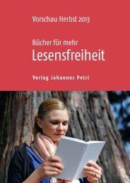 Vorschau Herbst 2013 Bücher für mehr - Verlag Johannes Petri