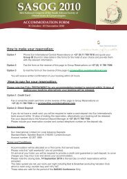SASOG ACCOMMODATION FORM
