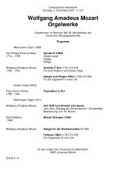 Wolfgang Amadeus Mozart Orgelwerke - Staatliche Hochschule für ...