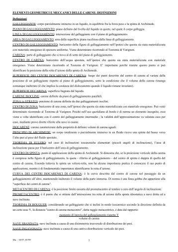 ELEMENTI GEOMETRICI E MECCANICI DELLE CARENE - Libero