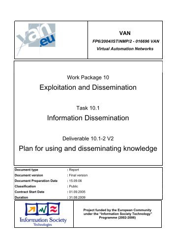 Plan for using and disseminating knowledge - Virtual Automation ...