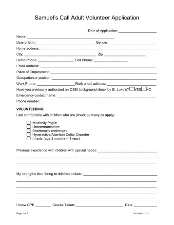 Church & Small Group Volunteer Application - Wheeler Mission