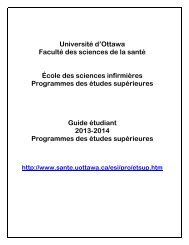 Guide étudiant - Faculté des sciences de la santé - Université d'Ottawa