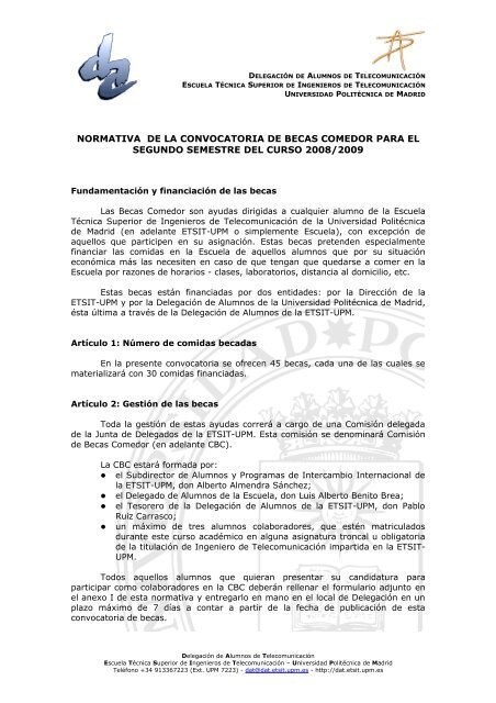 normativa de la convocatoria de becas comedor para el segundo ...