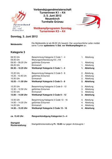 Verbandsjugendmeisterschaft Turnerinnen K1 – K4 2./3. Juni 2012 ...