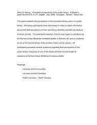 Homeless Perspectives of the Public Library - Moya K. Mason