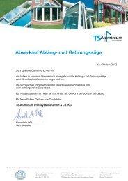 Abverkauf Abläng- und Gehrungssäge - TS-Aluminium ...